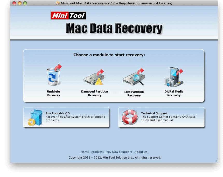 MiniTool Mac Data Recovery Main Window